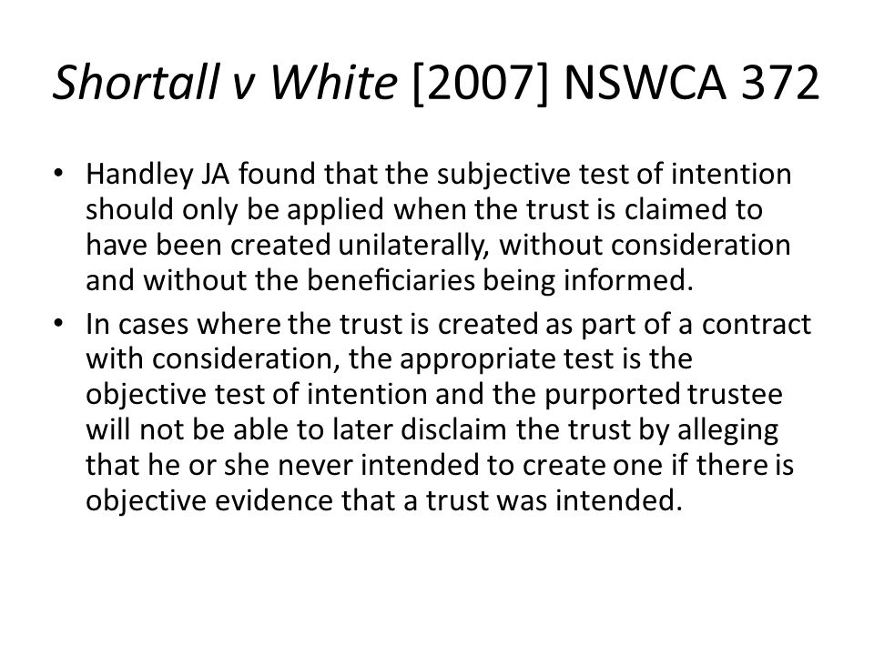 Shortall v White [2007] NSWCA 372